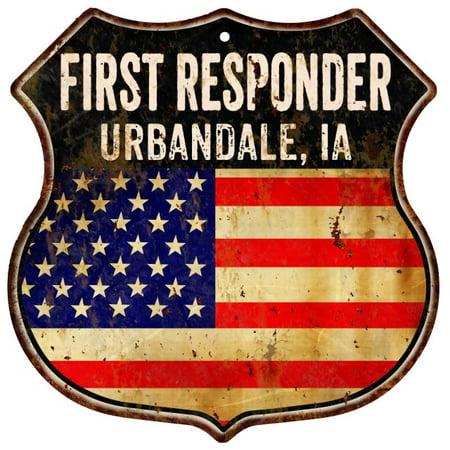 URBANDALE, IA First Responder USA 12x12 Metal Sign Fire Police 211110022851 Elite Ia Metal