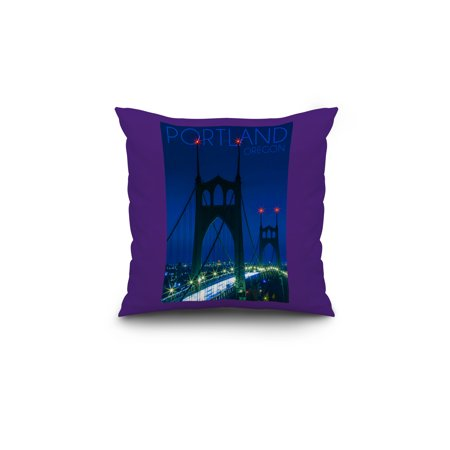 Portland Oregon St Johns Bridge Night Lantern Press Photography 18x18