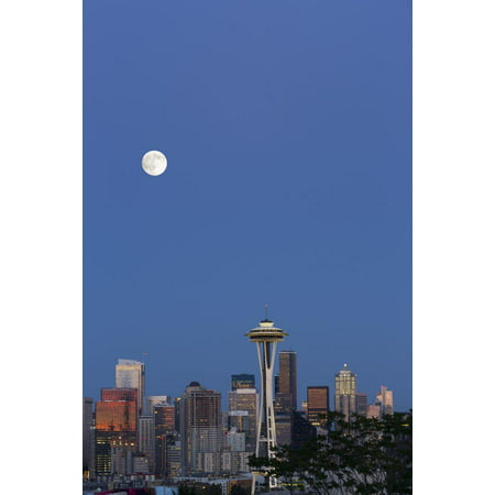 Wa, Seattle, Skyline View from Kerry Park, with Full Moon Print Wall Art By Jamie And Judy