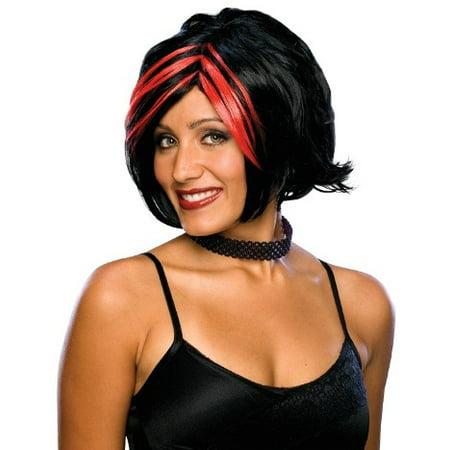 Womens Wigs Black Red Goth Punk Futuristic Costume Wig Adult - Futuristic Costumes