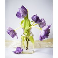 Purple tulips in a vase with an antique key hanging gracefully around the vase Chilliwack British Columbia Canada Canvas Art - Lorna Rande  Design Pics (14 x 16)