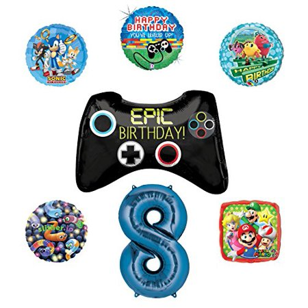 Video Gamers 8th Birthday Party Supplies and Balloon Decorations (Sonic, Super Mario, Pac Man and Slither.io)