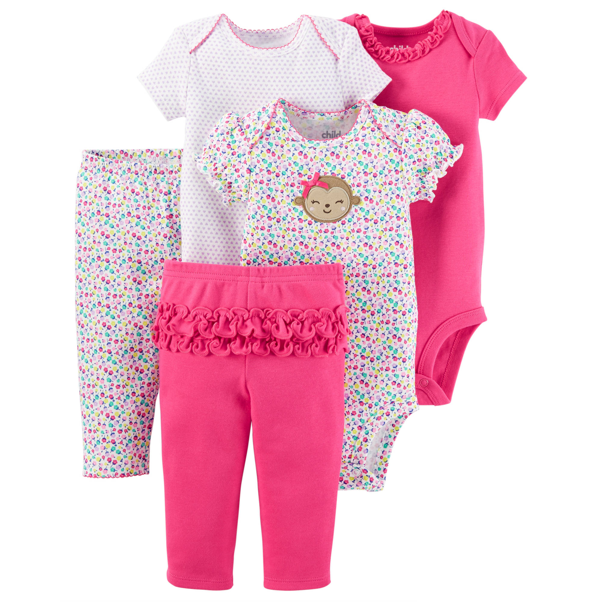 Child Of Mine by Carter's Newborn Baby Girl Bodysuits and Pants, 5-Piece Set