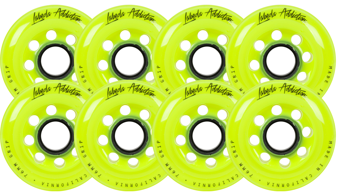 Click here to buy Labeda Inline Roller Hockey Skate Wheels Addiction Yellow 80mm SET OF 8.