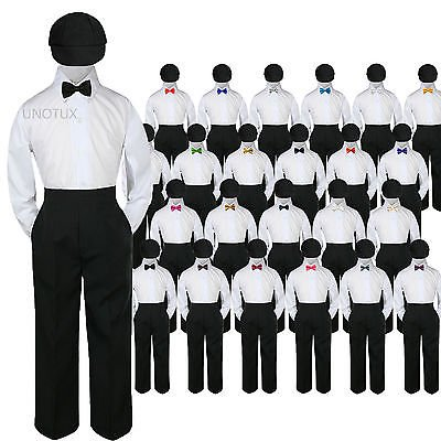 23 Color 4 pc Set Bow Tie Boys Baby Toddler Kid Formal Suits Black Hat Pants S-7 - Black Boys Suits