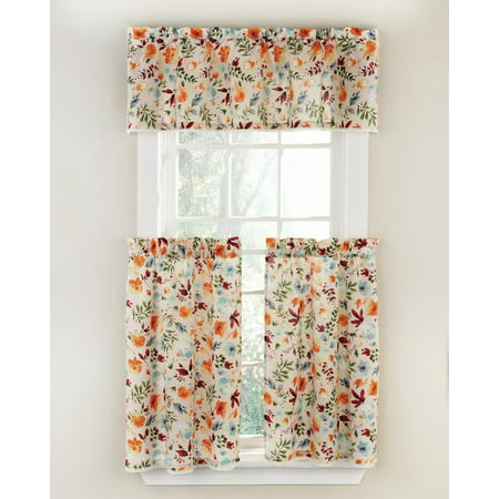 The Pioneer Woman Willow 3-Piece Kitchen Curtain Tier And Valance Set