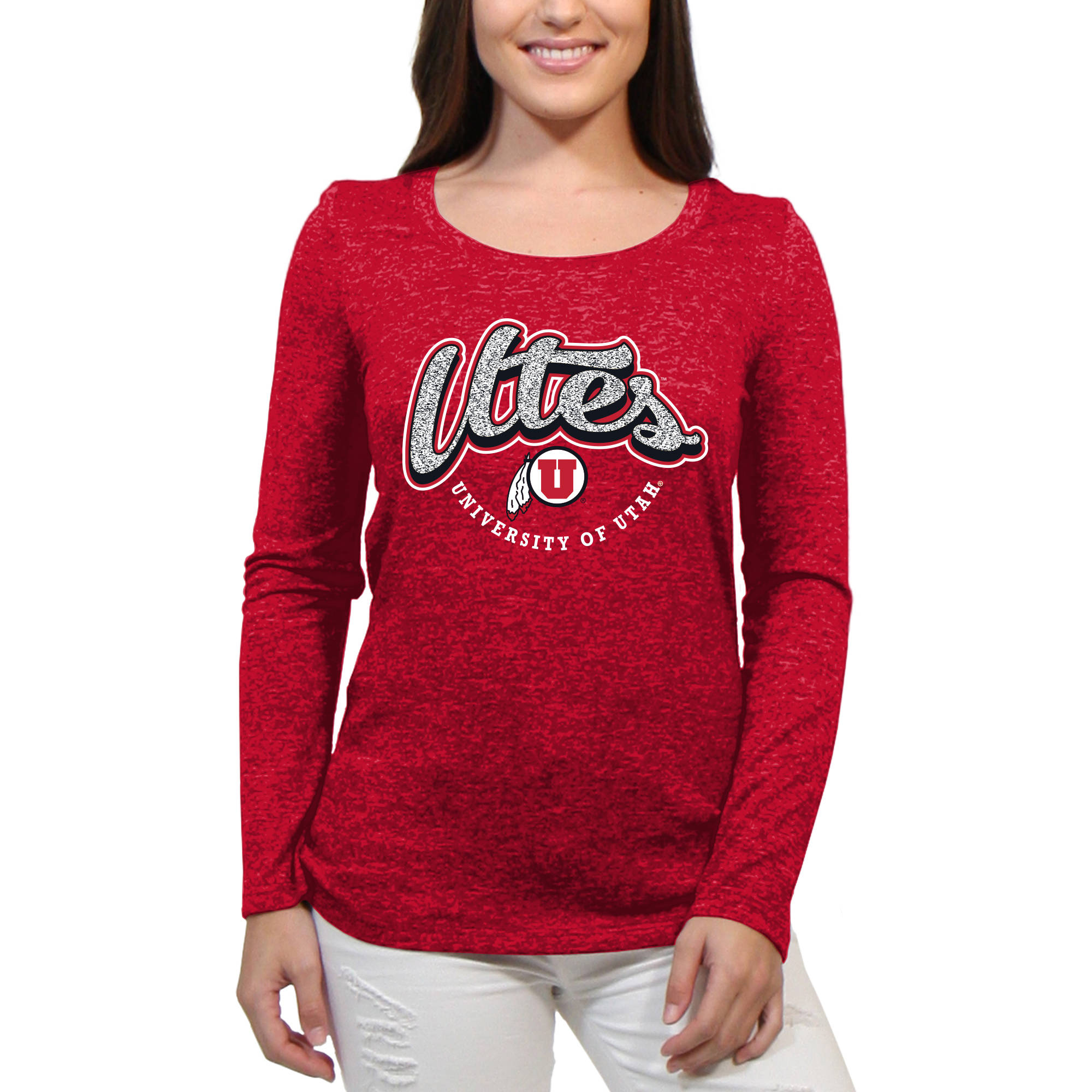 Utah Utes Funky Script Women'S/Juniors Team Long Sleeve Scoop Neck Shirt