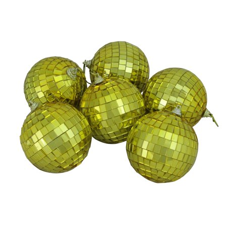 6ct Gold Mirrored Glass Disco Ball Christmas Ornaments 3.25