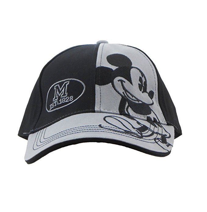 Disney Adult Mickey Mouse Black and Grey 1928 Embroidered 2 Tone Cap