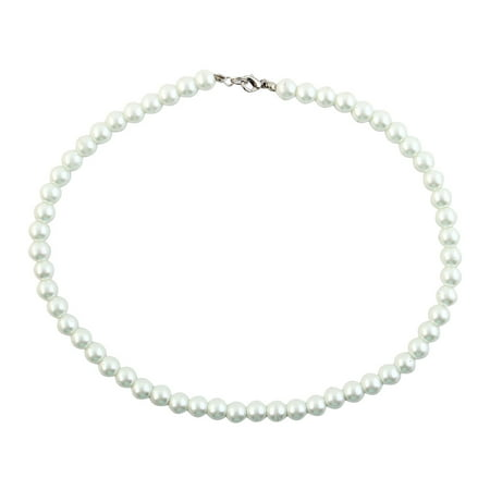 White Jewelry Faux Pearl Round Beaded Necklace for Lady