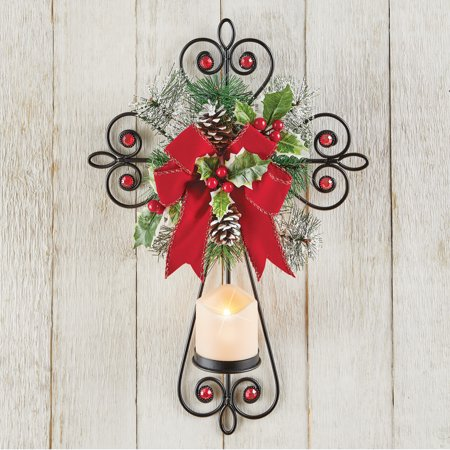 Beautiful Lighted Christmas Wall Cross with LED Candle, Remote, Wreath and Bow Accents ()