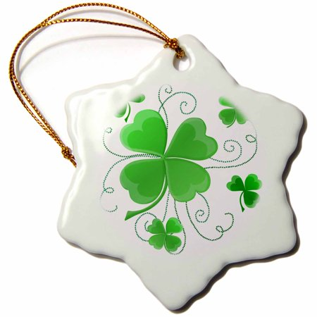 3dRose This design is of some lucky Shamrocks just in time for St Patricks Day - Snowflake Ornament, 3-inch](St Patricks Day Ornaments)