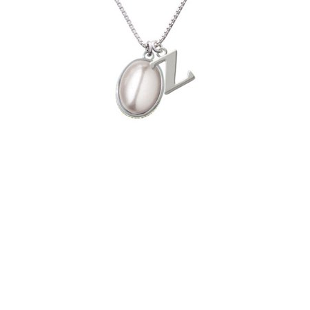 - Silvertone Small Grey Imitation Pearl - Z - Initial Necklace