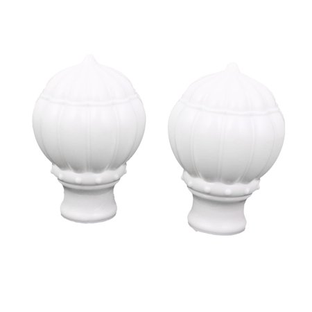 2pcs White Plastic Round Shape Drapery Curtain Rod Ends Caps Finials for 1