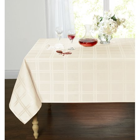 Spill Proof/Stain Resistant Plaid Tartan Fabric Tablecloth (60 in. W x 84 in. L, Beige) - Tartan Tablecloth