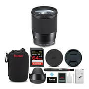 sigma 16mm f/1.4 dc dn contemporary lens for sony e-mount with 64gb extreme pro bundle