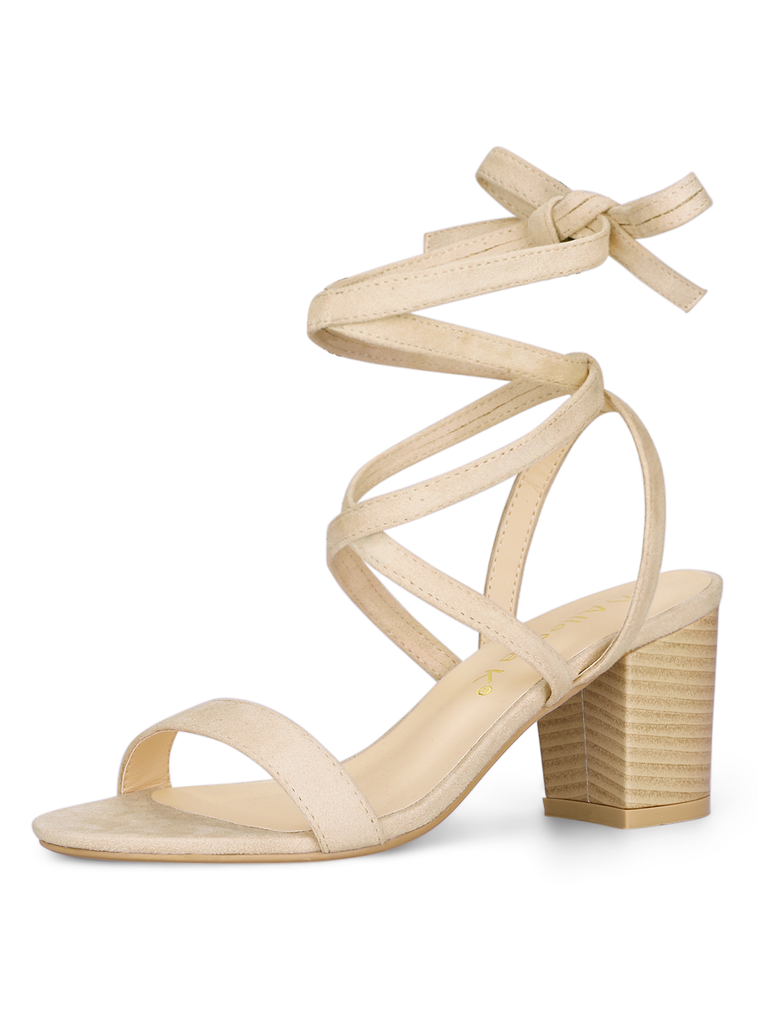 YFL01162-4 Ladies Open Toe Mid Heel Lace Up Sandals Beige/US 9