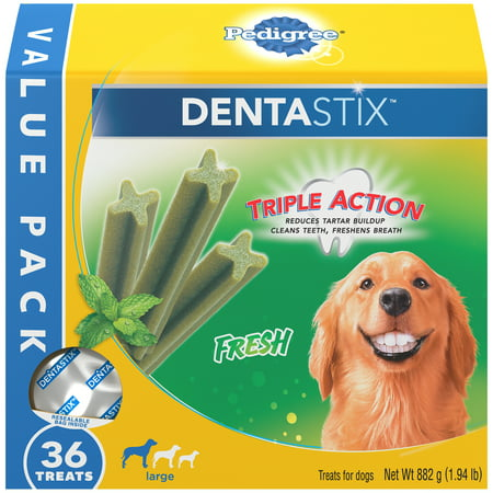 Pedigree Dentastix Large Dental Dog Treats, Fresh Flavor, 1.94 lb. Value Pack (36 -