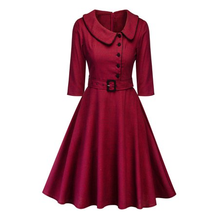 Women Button Lapel Swing Dress Vintage Long Sleeve Rockabilly Cocktail Evening Party Housewife Dresses