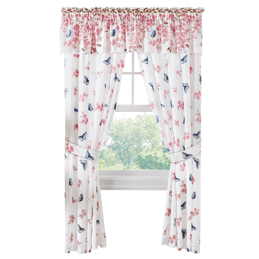 Cherry Blossom and Butterfly Window Treatment Drapes, Panel Pair by Collections Etc