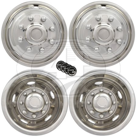 "17"" GMC 3500 08~16 Dodge 3500 13~16 Stainless Steel Wheel Simulator Dually rim liner skin"