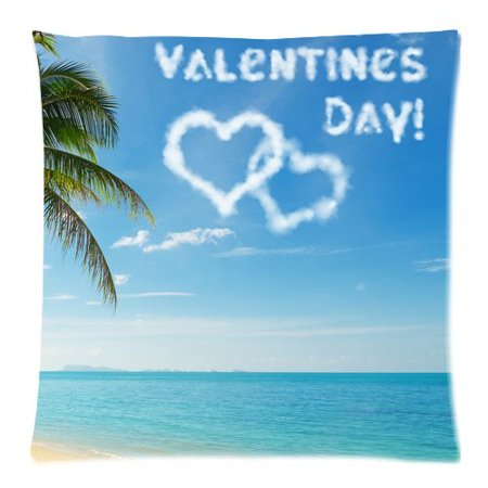 ZKGK Love Palm Tree Sea Beach Sand Water Shams Decorative Pillowcase for Couch Bed 18 x 18 Inches,Summer Cloud Happy Valentines Day Pillow Cover Case](Happy Birthday Palm Trees)