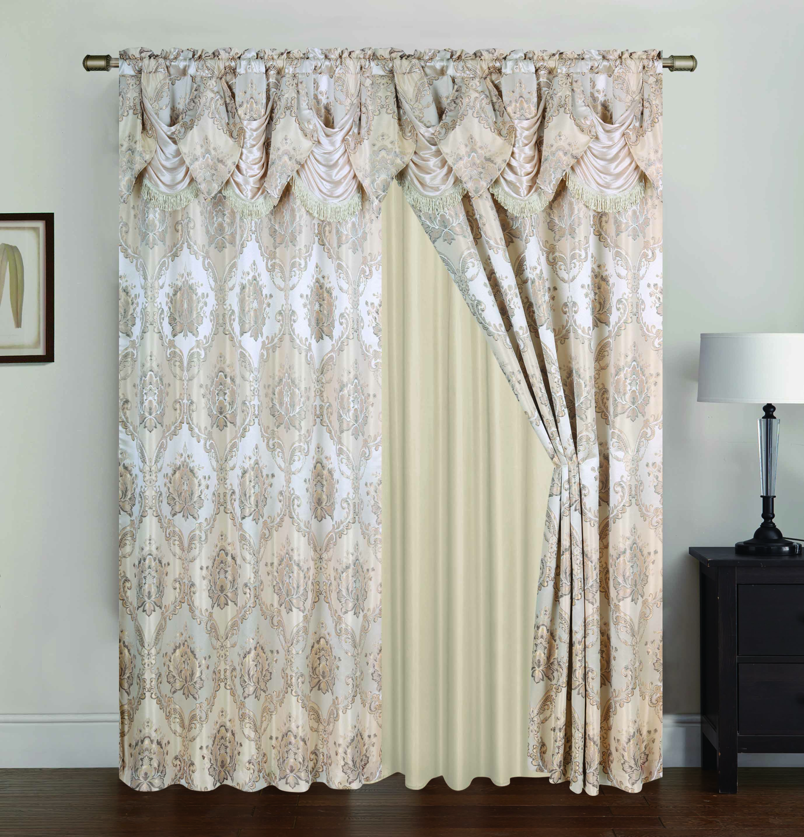 "Vernon Damask Jacquard 54 x 84 in. Double Rod Pocket Single Curtain Panel w/ Attached 18"" Valance, Beige"