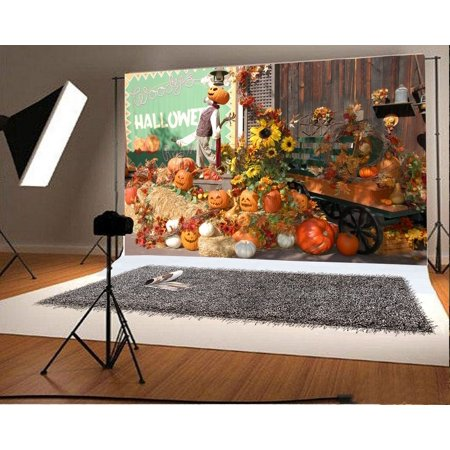 GreenDecor Polyester Fabric Halloween Backdrop 7x5ft Photography Backdrop Scarecrow Pumpkin Laterns Hay Sunflowers Cart Wood Drawing Wall Children Baby Kids Photographic Photos Video Studio Props](Halloween Drawings For Toddlers)