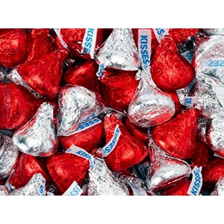 Milk Chocolate, Hershey's Kisses, Red and Silver, 3 pounds bag (Red Kisses)