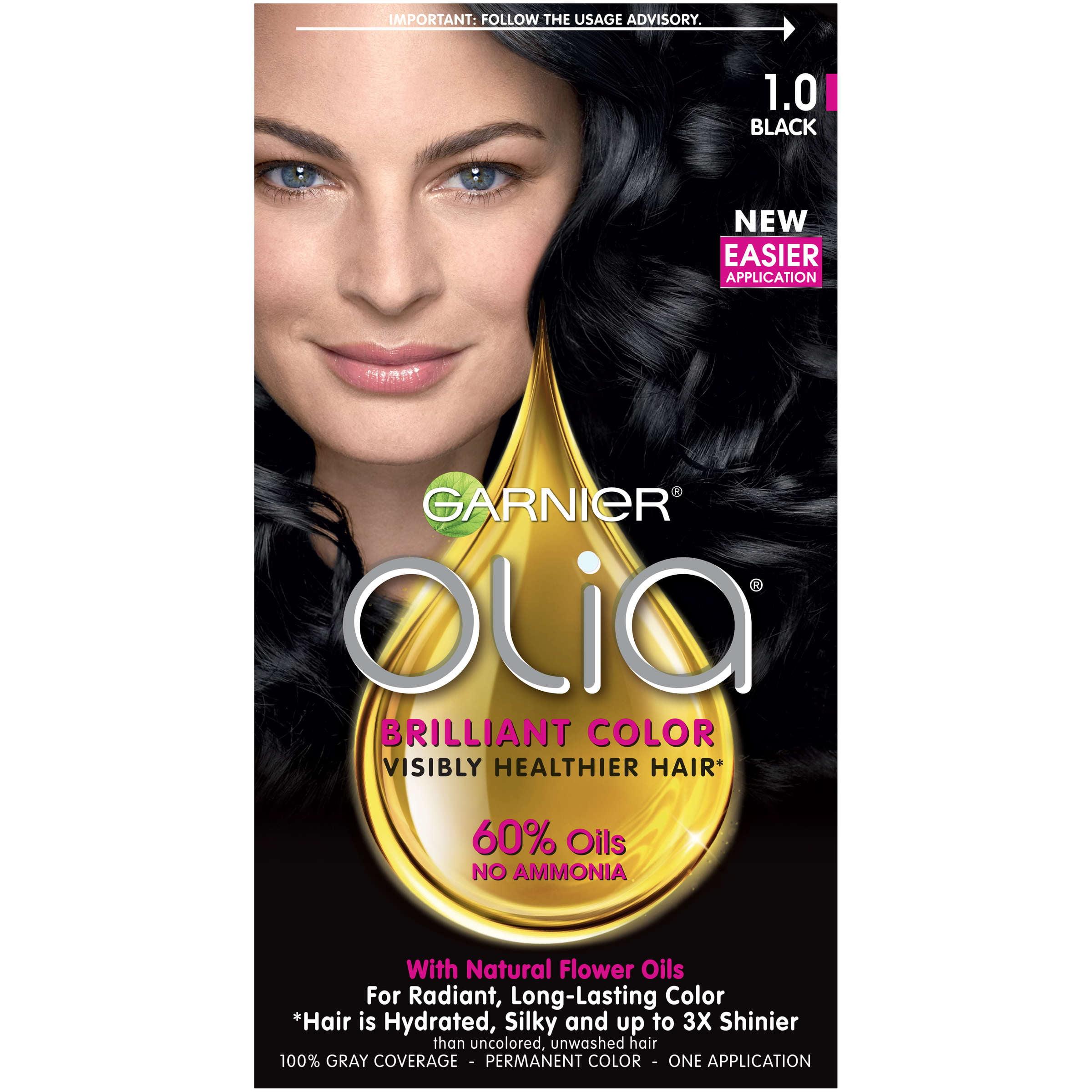 Garnier Olia Oil Powered Permanent Hair Color, 1.0 Black
