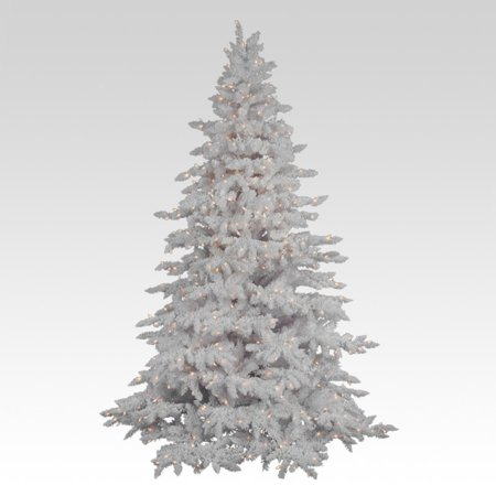 - Flocked White Spruce Full Pre-lit Christmas Tree - Walmart.com