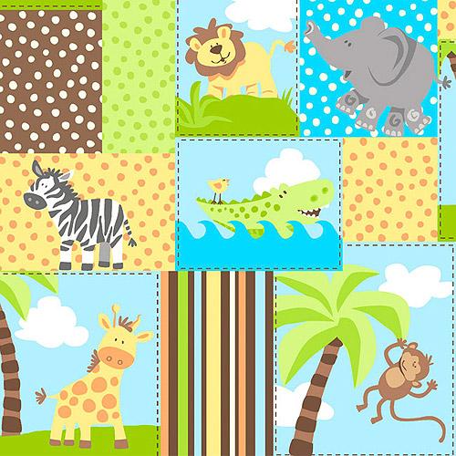 "Creative Cuts Cotton 44"" wide, 2 yard cut fabric - Nursery Animal Print Blocks"