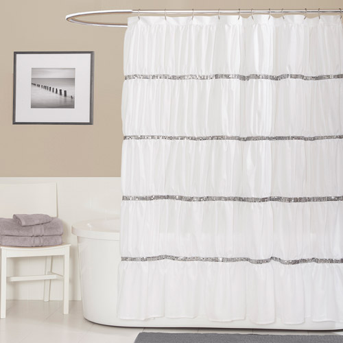 Essential Living Twinkle White Shower Curtain