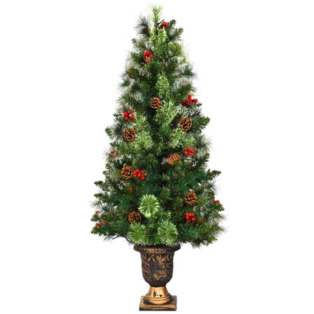 Costway 5ft Pre-Lit Christmas Entrance Tree In Urn w/100 LED Light Red Berries Pine Cone ()