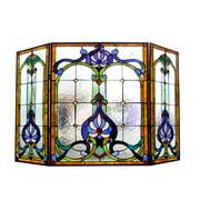 Chloe Lighting Tiffany 3 Panel Bronze Fireplace Screen