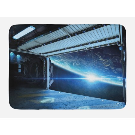 Outer Space Bath Mat, Interstellar Airlock Shuttle Runway Gate Journey to the Stars Invasion View, Non-Slip Plush Mat Bathroom Kitchen Laundry Room Decor, 29.5 X 17.5 Inches, Blue Gray, Ambesonne