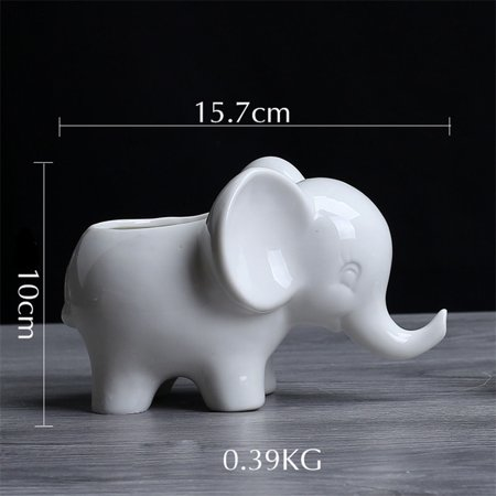 Animals Shape Ceramic Flower Pot Elephant Succulent Planter Cactus Succulent Plants Flower Cute White Pot - Flower Shape