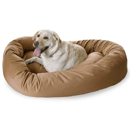 Majestic Pet Solid Poly/Cotton Bagel Dog Bed Donut Dog Pet Bed Khaki