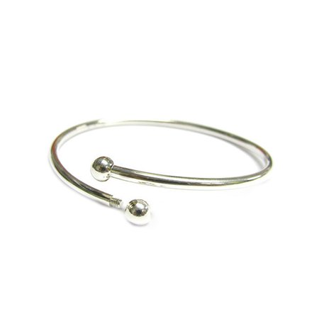 Sterling Silver Flex Bangle Cuff Bracelet with Screw End For European Bead Charms, 7