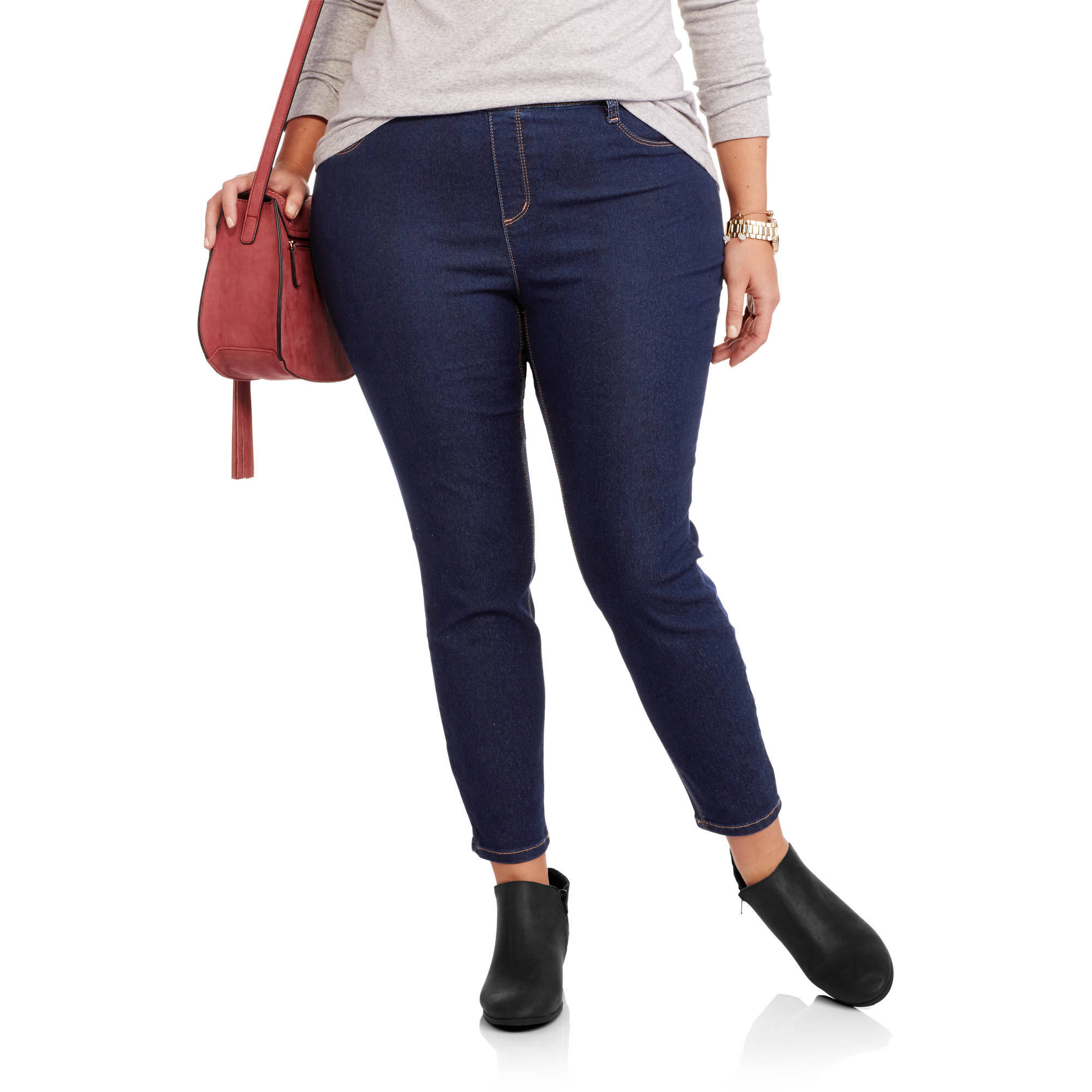 "Lei Juniors' Plus 27"" Pull On Ankle Jeans"