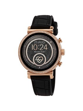 Michael Kors - Access Sofie Heart Rate Smartwatch 41mm Stainless Steel - Black Silicone