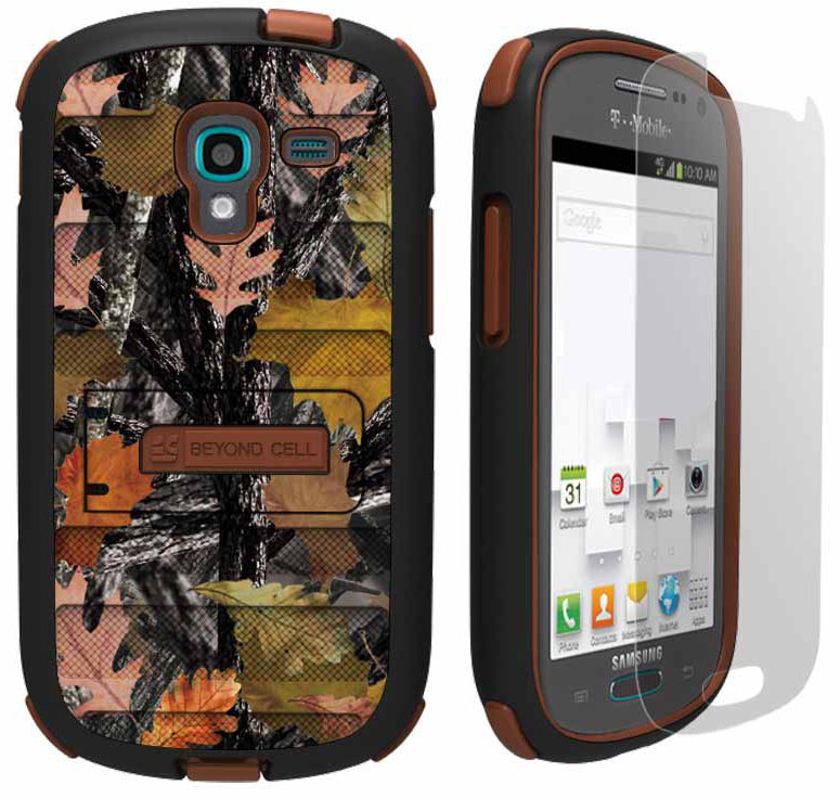 HUNTER LEAF CAMO TRI-SHIELD CASE COVER STAND FOR SAMSUNG GALAXY EXHIBIT T599