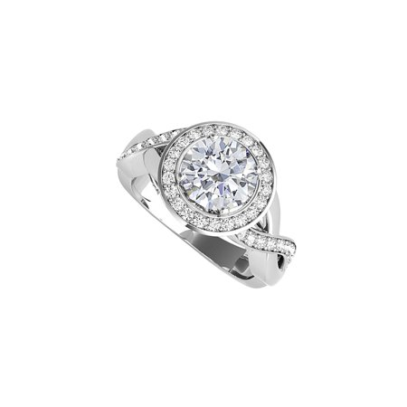 Cubic Zirconia Crossover Engagement Ring 925 Silver - image 1 of 5