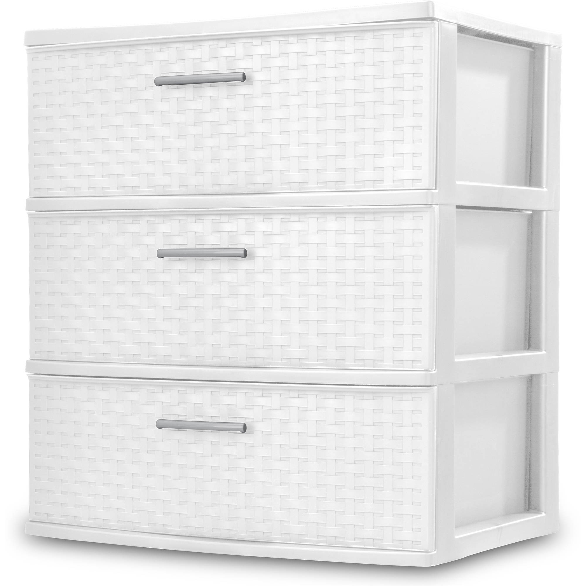 Sterilite 3-Drawer Wide Weave Tower, White