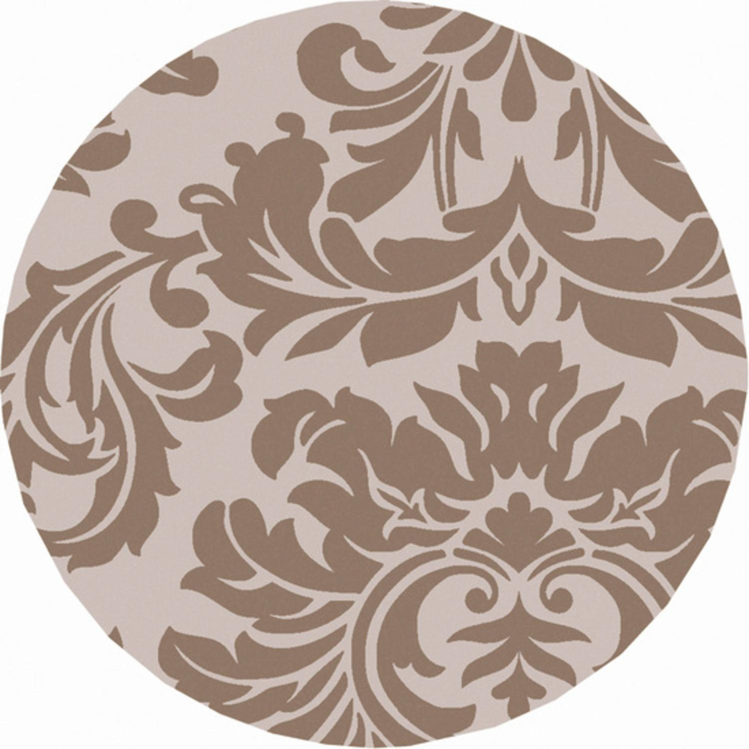 4' Falling Leaves Damask Light Brown and Stone Gray Round Hand Tufted Wool Area Throw Rug