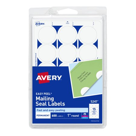 Avery Mailing Seals, Permanent Adhesive, 1