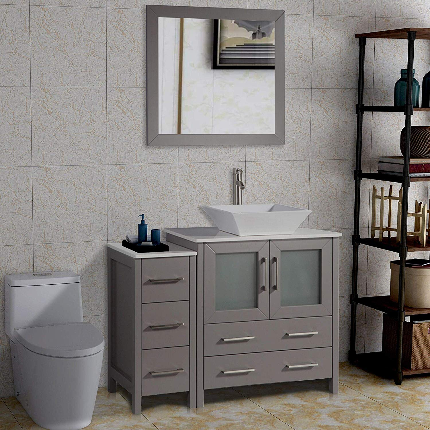Vanity Art 42-Inch Single Sink Bathroom Vanity Set Modern & Slim 5-Drawer White Quartz Top 2 ...