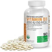 Vitamin D3 2000 IU Bone Health and Immune Support, USDA Certified Organic, Non-GMO Gluten Free, 90 Tablets