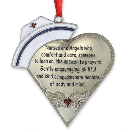 Nurse Heart Shaped Ornament with - Nurse Ornaments