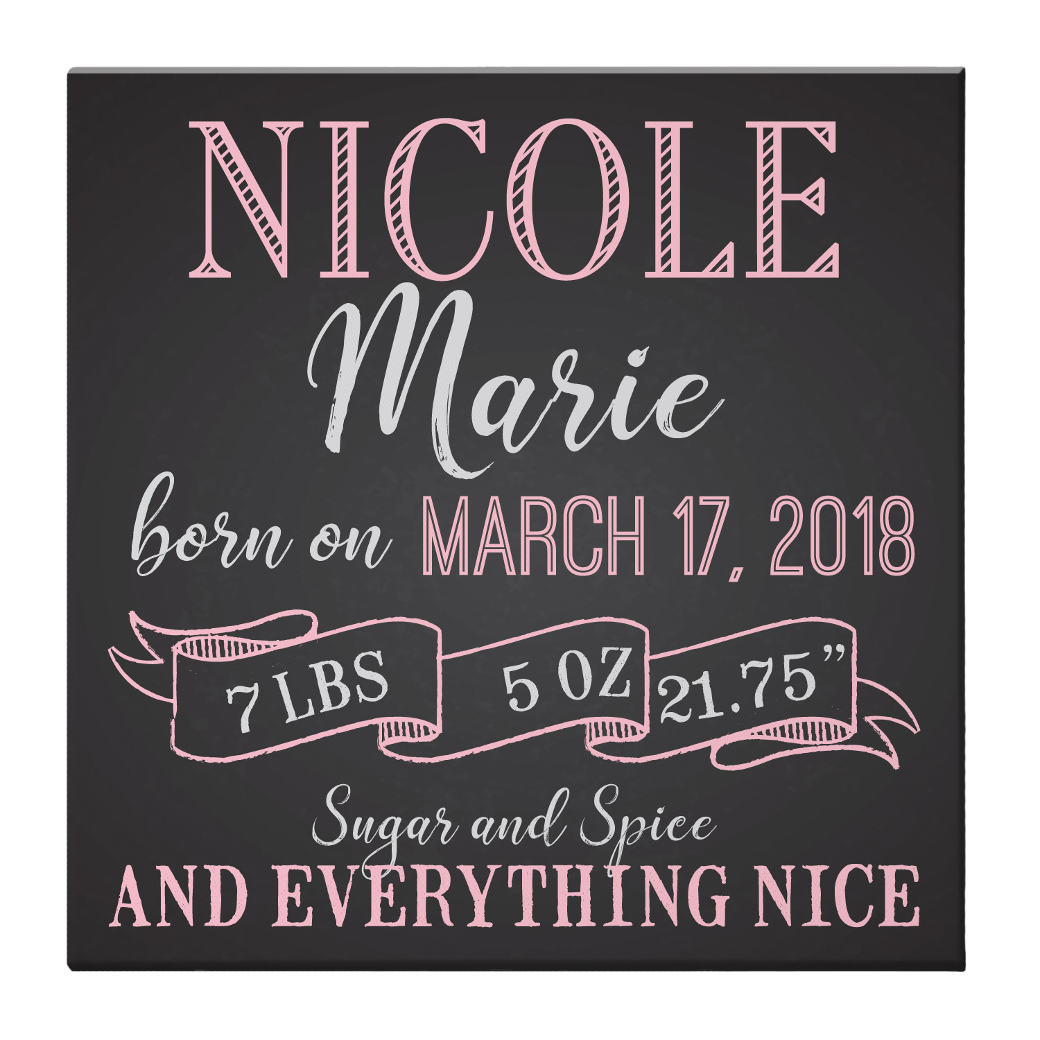 Personalized Here I Am! Baby Canvas - Available in Blue or Pink and 2 Sizes